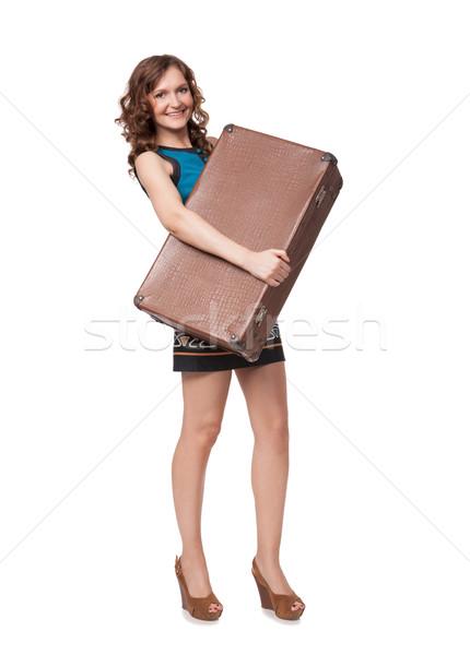 Portre mutlu genç kadın bavul beyaz kız Stok fotoğraf © rozbyshaka