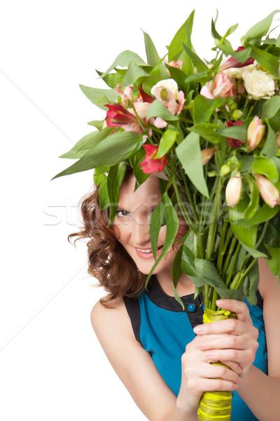 Portré csinos barna hajú tart virágcsokor virágok Stock fotó © rozbyshaka