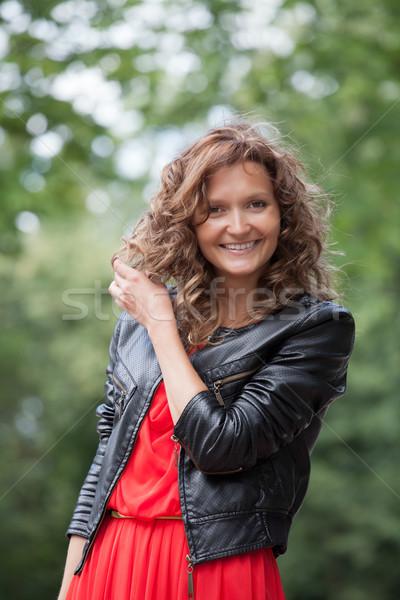 肖像 小さな 笑顔の女性 公園 立って 夏 ストックフォト © rozbyshaka
