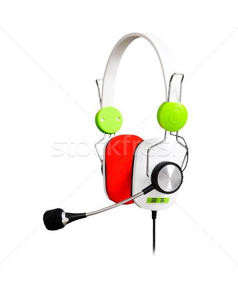 Fones de ouvido isolado branco música fundo cabeça Foto stock © rozbyshaka
