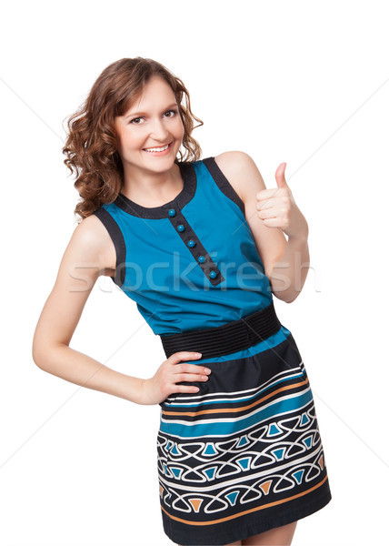 Portrait of a smiling woman while giving two thumbs up Stock photo © rozbyshaka
