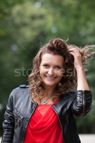 Retrato jovem sorrindo parque em pé verão Foto stock © rozbyshaka