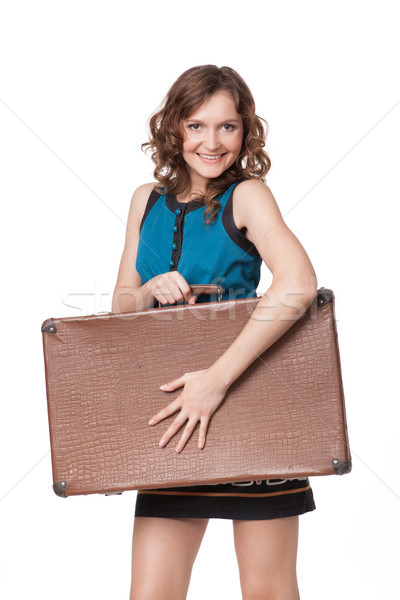 Portrait of happy young woman with suitcase Stock photo © rozbyshaka