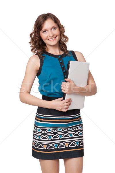 肖像 幸せ 若い女性 ポーズ ノートパソコン 白 ストックフォト © rozbyshaka