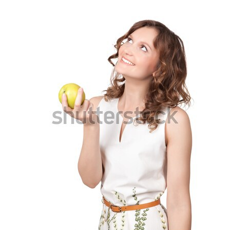 Portrait of an attractive young woman with an apple Stock photo © rozbyshaka