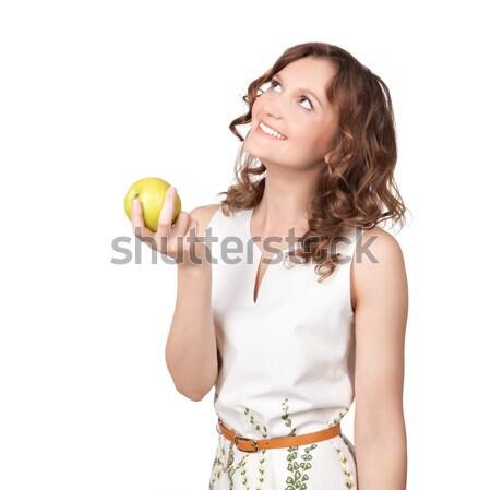 肖像 魅力的な 若い女性 リンゴ 白 女性 ストックフォト © rozbyshaka