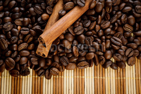 Aromatik kahve çekirdekleri tarçın gıda doğa uzay Stok fotoğraf © rozbyshaka