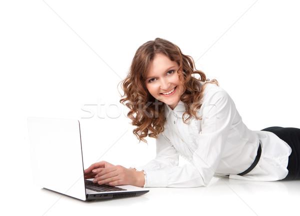 Mulher laptop piso isolado branco Foto stock © rozbyshaka