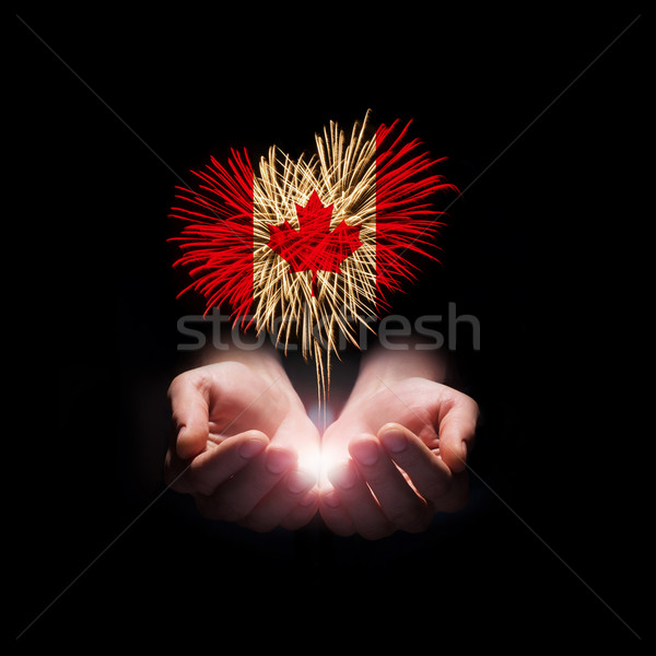 Canada jour Bienvenue feux d'artifice Homme mains Photo stock © rozbyshaka