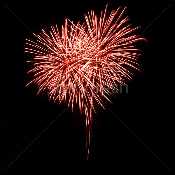 Stockfoto: Heldere · Rood · vuurwerk · nachtelijke · hemel · vorm · hart