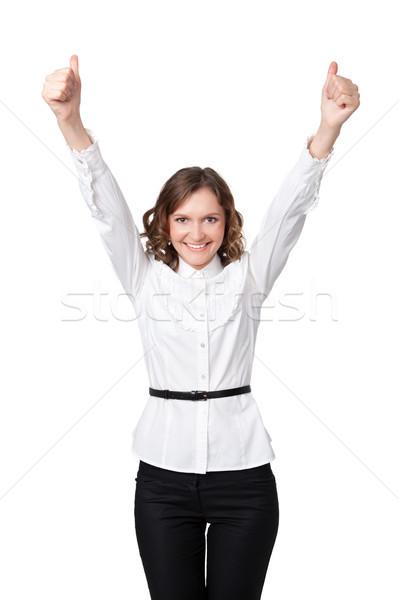 Mutlu gülen iş kadını neden el işareti beyaz Stok fotoğraf © rozbyshaka