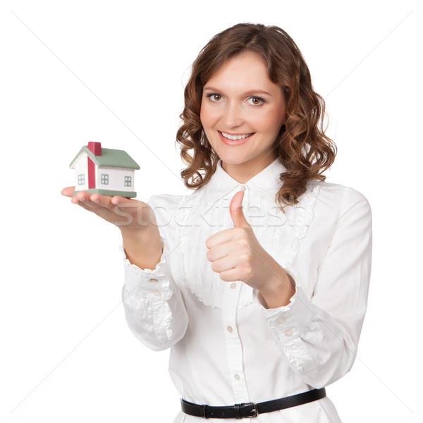 Belo mulher jovem casa modelo branco Foto stock © rozbyshaka