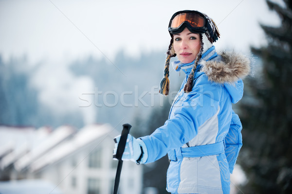 Portrait of a woman at a ski resort Stock photo © rozbyshaka