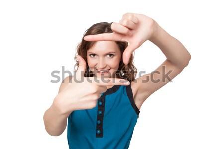 Sorrindo quadro dedos branco mulher Foto stock © rozbyshaka