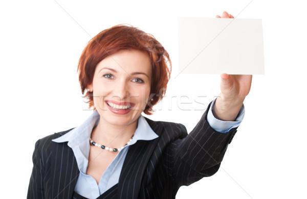 Empresárias cartão de visita mulher fora foco Foto stock © rozbyshaka