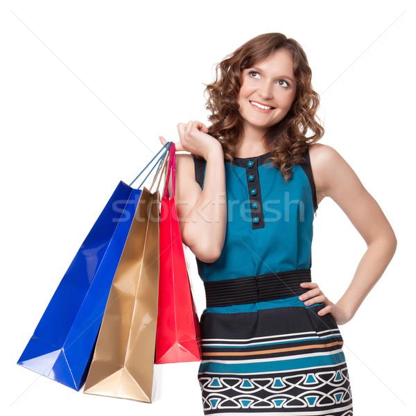 肖像 若い女性 ショッピングバッグ 白 女性 ストックフォト © rozbyshaka