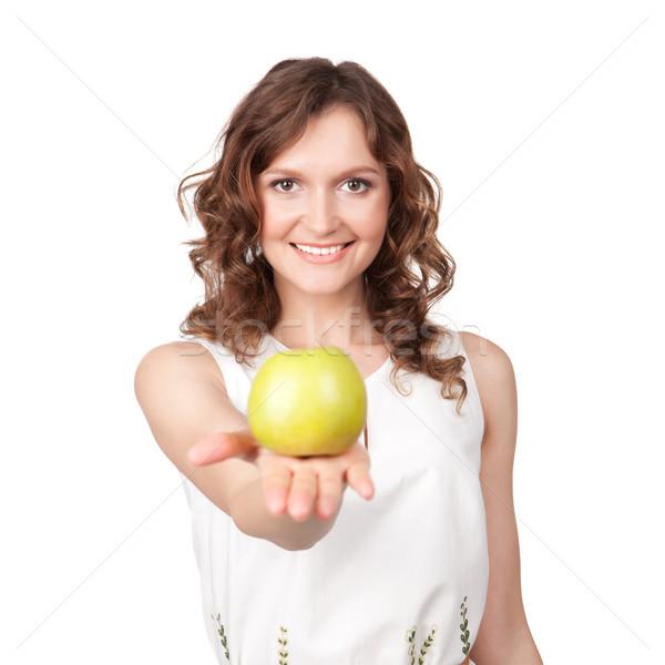 Portre genç kız yeşil elma eller beyaz Stok fotoğraf © rozbyshaka