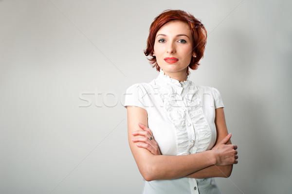 Belo mulher jovem bela mulher branco negócio menina Foto stock © rozbyshaka