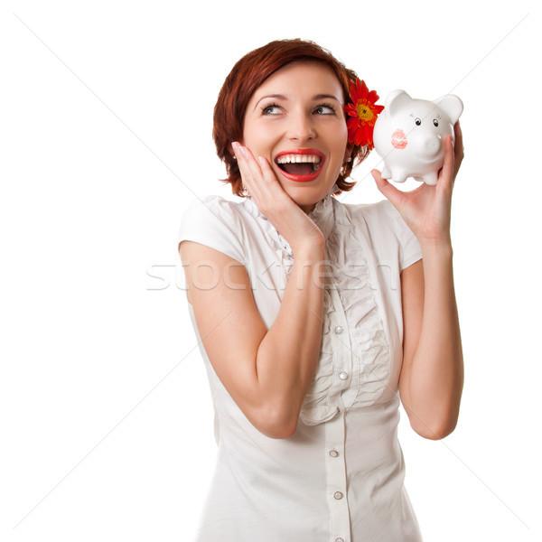 Mükemmel tasarruf finanse kadın bakıyor kumbara Stok fotoğraf © rozbyshaka