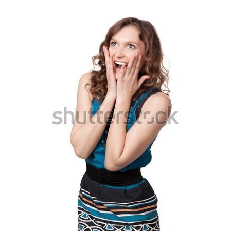 Mulher de mãos dadas cara surpresa beleza sucesso Foto stock © rozbyshaka