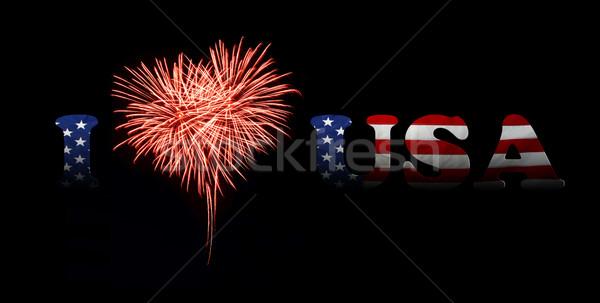 Nap szeretet USA tűzijáték piros szív alak Stock fotó © rozbyshaka
