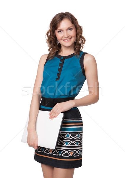 Portrait of a happy young woman posing with a laptop Stock photo © rozbyshaka
