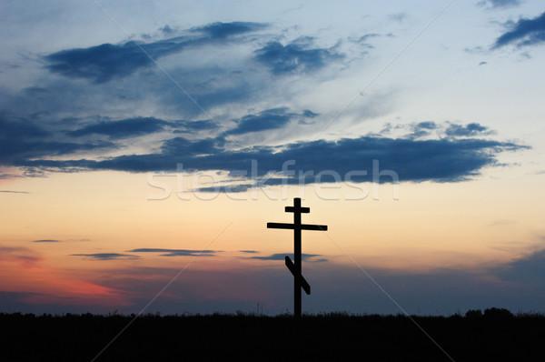 cross silhouette with the sunset Stock photo © rozbyshaka