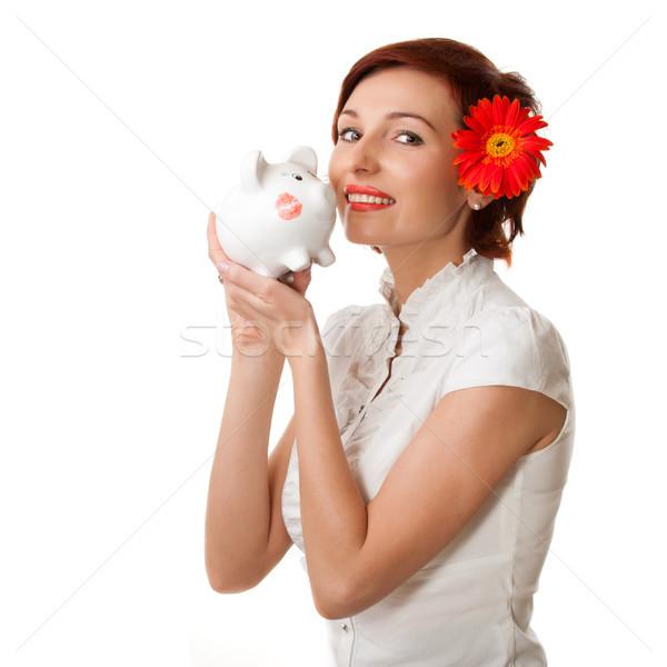 Perfeito poupança financiar mulher olhando piggy bank Foto stock © rozbyshaka