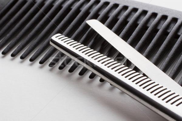 scissors for hairdresser operation and a hairbrush on white back Stock photo © rozbyshaka