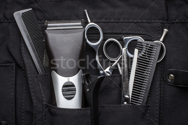 professional tools of hairdresser in black case Stock photo © rozbyshaka