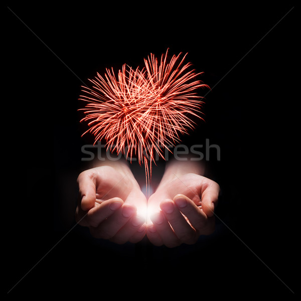 Meu coração amor fogos de artifício mãos forma Foto stock © rozbyshaka