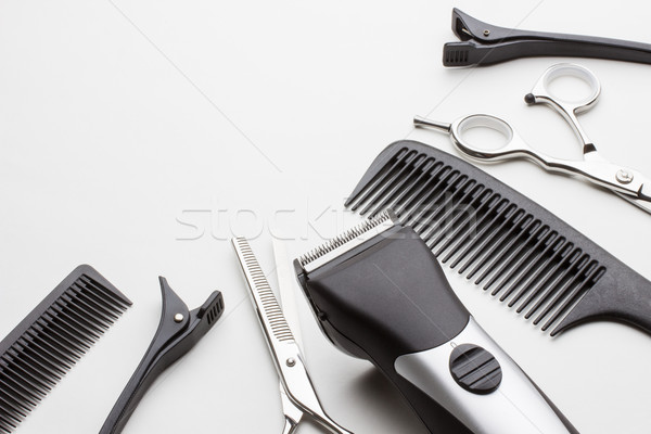 Stockfoto: Professionele · tools · kapper · witte · mode · haren