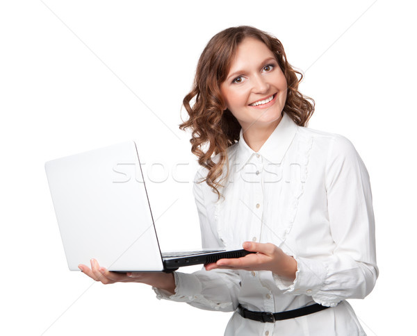 Portré csinos fiatal üzletasszony tart laptop Stock fotó © rozbyshaka