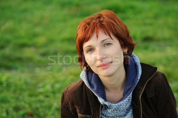 Attractive woman with red hair Stock photo © rozbyshaka