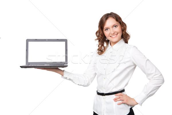 Retrato bastante jovem empresária laptop Foto stock © rozbyshaka