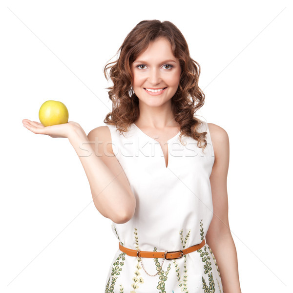 Retrato atraente mulher jovem maçã branco mulher Foto stock © rozbyshaka