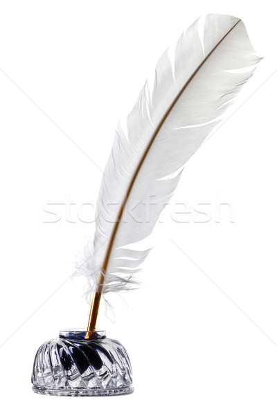 White feather quill pen and inkwell isolated Stock photo © RTimages