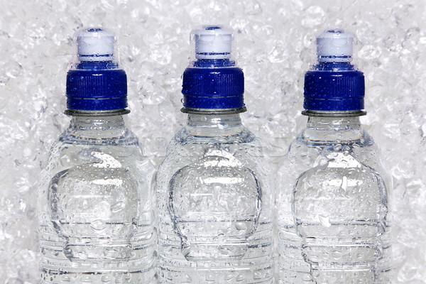 Flessen koud mineraalwater ijs foto plastic Stockfoto © RTimages