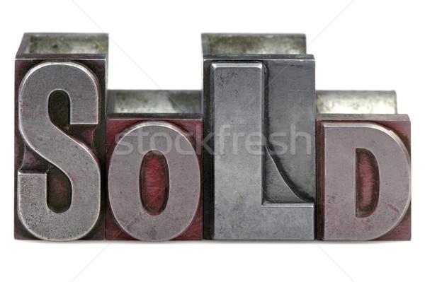 Foto stock: Vendido · palavra · velho · impressão · blocos