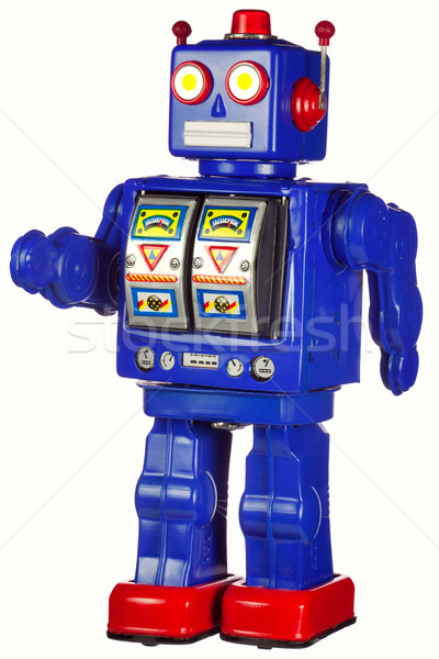 Vintage tin robot walking isolated on white Stock photo © RTimages