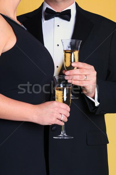 カップル イブニングドレス シャンパン 写真 黒 ストックフォト © RTimages