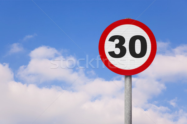 Round roadsign with the number 30 Stock photo © RTimages