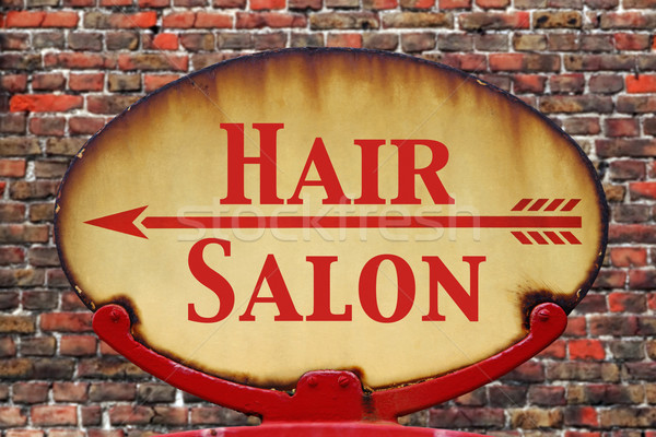 Retro sign Hair salon Stock photo © RTimages
