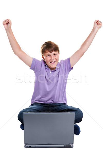 Estudante laptop isolado foto 11 anos Foto stock © RTimages