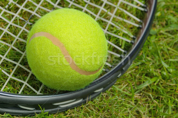 Tennis ball and racket close up Stock photo © RTimages
