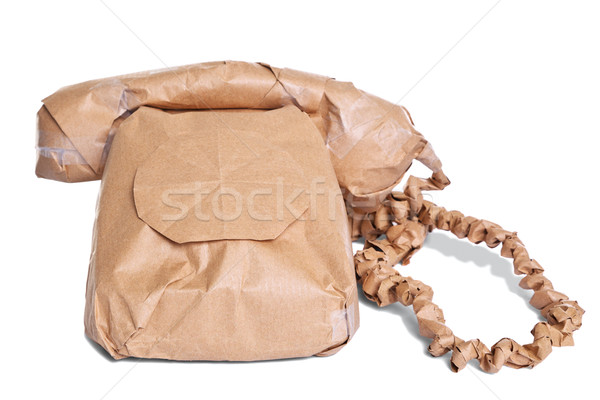 Telephone wrapped in brown paper cut out Stock photo © RTimages