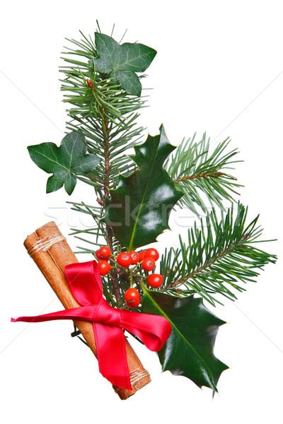 Natal decoração canela vermelho arco foto Foto stock © RTimages
