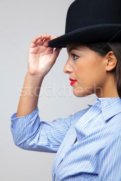 Empresária vista lateral tocante Foto stock © RTimages
