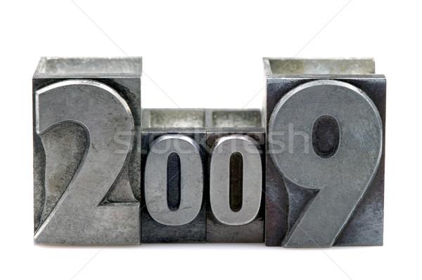 Magasnyomás 2009 öreg nyomtatás kockák izolált Stock fotó © RTimages