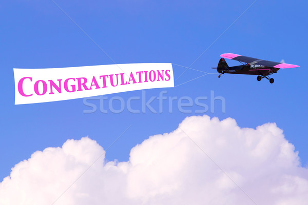 Congratulations airplane banner Stock photo © RTimages